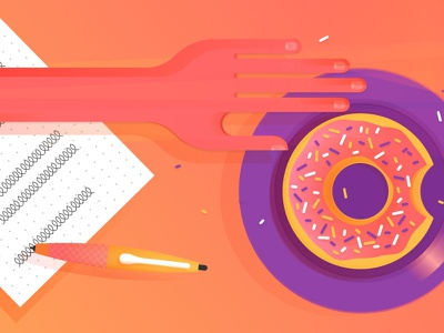 Things I can't eat. creamy baller fresh grid gradients notes paper pen hand donut donuts