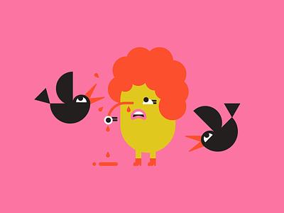 Damn Crows potato cyclops rude attack shit peck eye crows