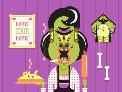 Seattle Monster Mash 7/31 cigarette clock pie halloween spooky illustration character monster mom ma seattle monster mash seattlemonstermash