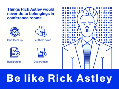 Be Like Rick Astley donut coffee cup psa illustration room conference rick astley design challenge intentional futures