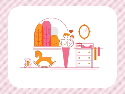 Stay At Home Dad illustration line dresser nursery window rocking horse baby dad family cute