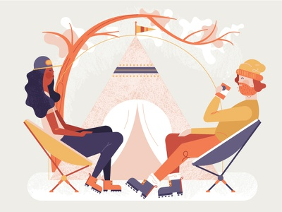Glampers ⛺️ ✨ illustration tent trendy adventure couple high fashion glamping camping