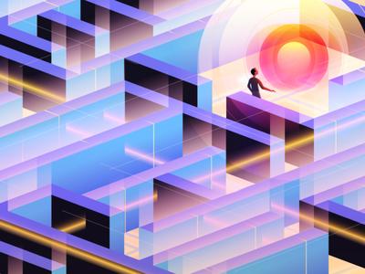 Quantum Computing light complex gradient illustration maze puzzle mystery future computer quantum computing