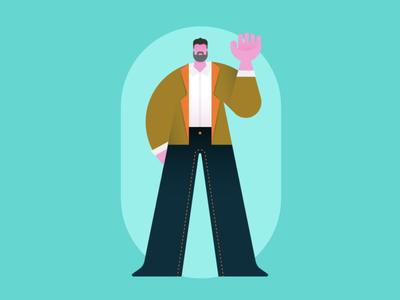 Big Hands test exploration suit illustration character man big hands