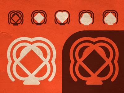 Unused mark game club heart diamond spade vibe retro lines thicc logo poker