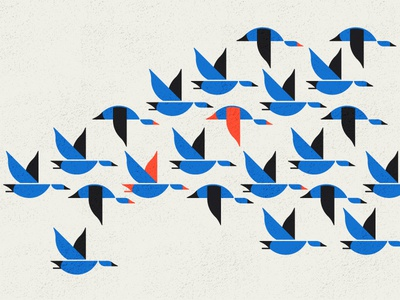 Ducks in a row 🦆 geometric texture simple illustration flight fly ducks blog brand