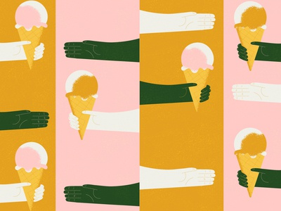 Blog header: Workflows api quirky fun texture illustration sharing hands platform ice cream blog