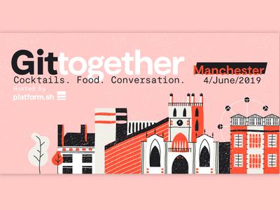 Git-together / Manchester cute simple git developer europe wonky illustration skyline manchester gittogether