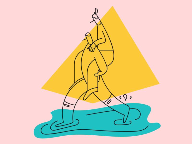 We're friendly :) website puddle splash rain piggyback shapes wonky illustration friend pals platform.sh