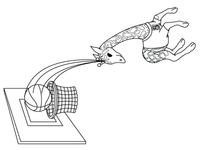 Giraff playing basket
