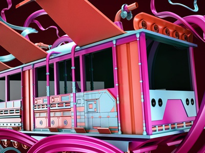 abstract3 pharaoh liens fly train purple blue orange color illstration render 3d abstract