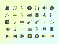 Music icon set with blue and yellow theme