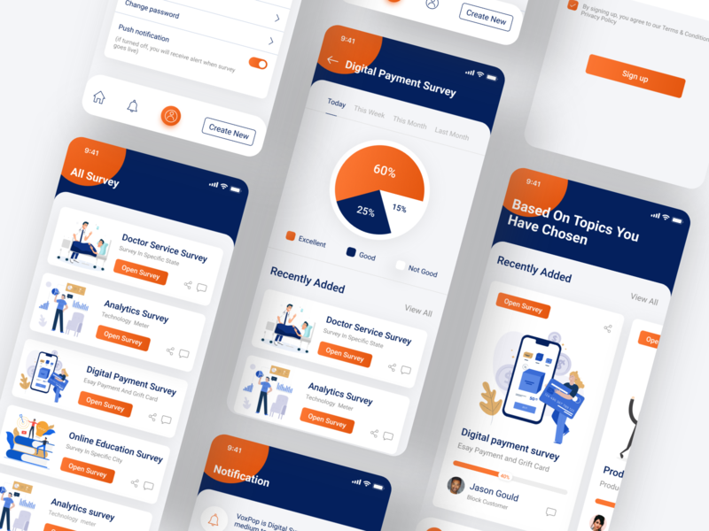 Survey App survey app app design home screen illustraion ios ui ux clean app design