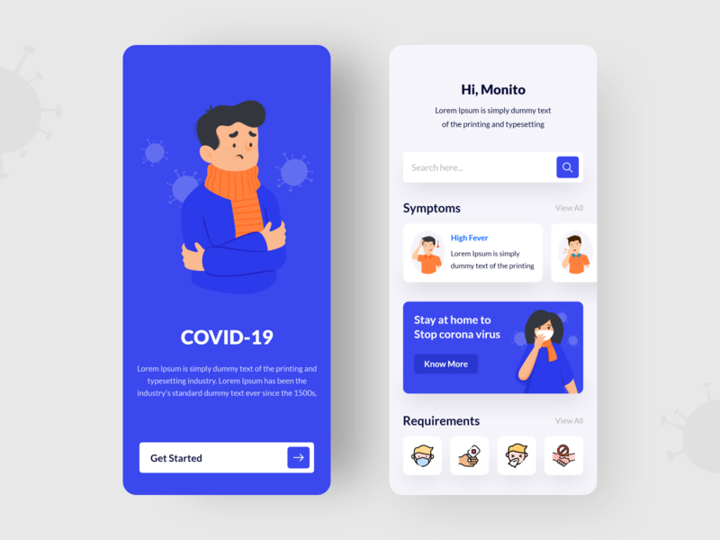 Covid 19 covid 19 home screen illustration icon ux ui ios mobile app design