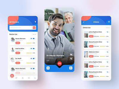 Doctor Consultation App health app colorful design illustration home screen doctor app app design doctor doctor appointment medical