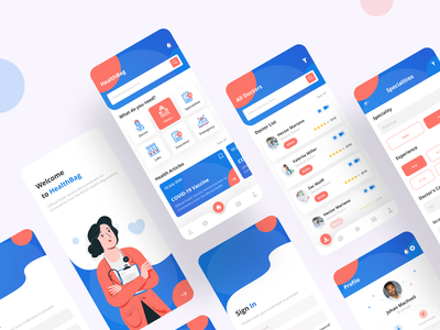 Doctor Consultation App medical illustration home screen health app doctor appointment doctor app doctor colorful design app design