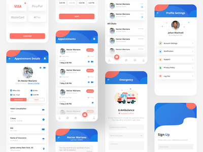Doctor Consultation App medical doctor appointment doctor app design home screen illustration colorful design doctor app health app