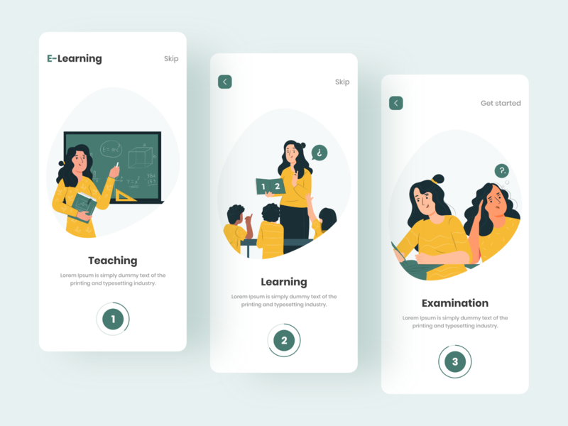 Online Education App app uiux illustration colorful design onboarding screens education app app design online education