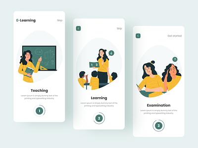 Online Education App app uiux illustration colorful design onboarding screens education app app design online education