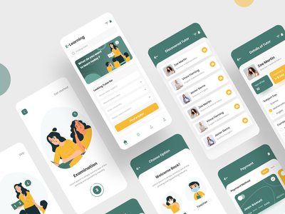 Online Education App colorful design elearning uiux e-learning education app app design app online education