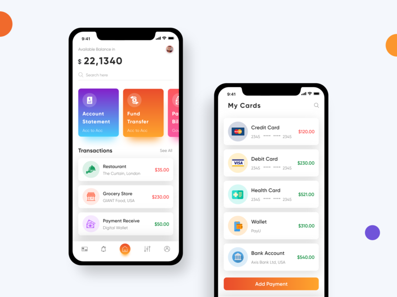 Banking and Finance App finance app banking app bank interfaces inspiration credit cards colors business businesscard branding finance uiux mobile ios app clean design icon