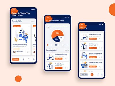 Survey App vector surveys survey app survey report illustration cards analysis uiux mobile ios app ux ui design icon