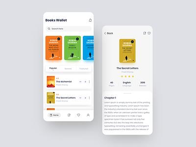 Books Wallet App books app illustraion colorful onboarding screens home screens app design app design