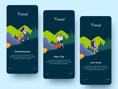 Travel App app design illustraion onboarding screens colorful travel app app design