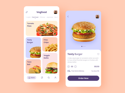 Food App onboarding screens design app app design home screens illustraion colorful food app