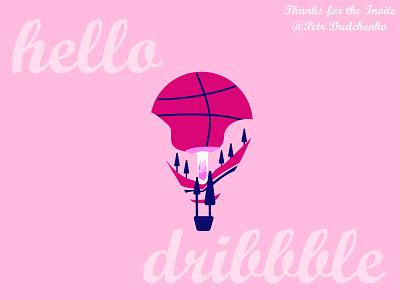 Hello Dribble hello dribbble vector illustration