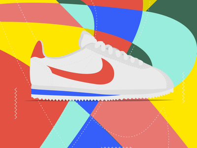 Classic 90s cortez nike shoes nike illustrator cc oldschool illustration vector