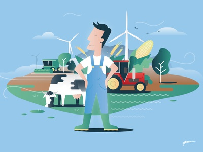 Illustration France Énergie éolienne farmer wind turbine wind vector poster art illustration