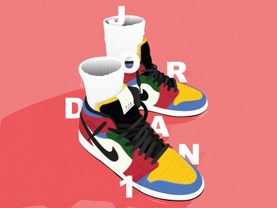 Illustration Air Jordan 1 vectorart vector illustration green yellow red blue sneakers graphic poster art illustrator cc typography oldschool affiche illustration vector