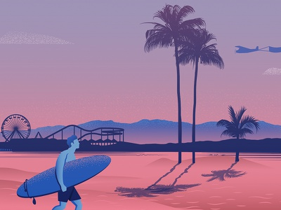 Santa Monica illustration blue graphic illustrator cc city illustration vector