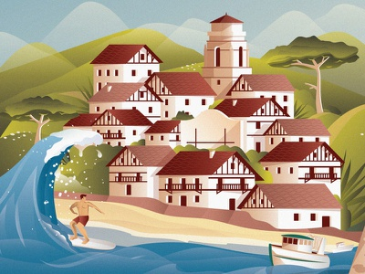 Poster Pays Basque red green blue ocean boat surfing surf saintjeandeluz biarritz france graphic city illustration vector poster art affiche