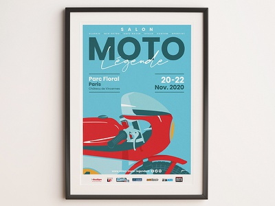 Poster moto legende 2020 vintage motorcycle red blue bike graphic typography illustrator cc oldschool poster art affiche illustration vector