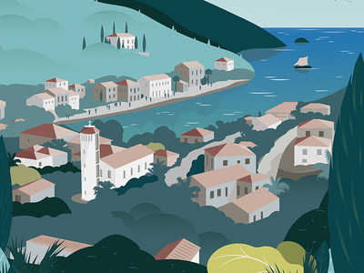 Poster Ithaque city ithaque poster art vector illustration affiche