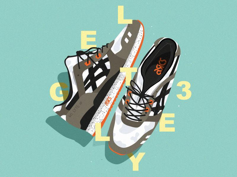 Illustration Asics typography oldschool affiche sneakers illustrator cc vector illustration poster art