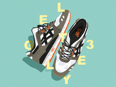 Illustration Asics typography oldschool affiche sneakers illustrator cc vector illustration poster art
