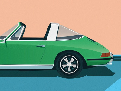 Illustration targa 911 vector affiche oldschool illustration porsche green porsche 911
