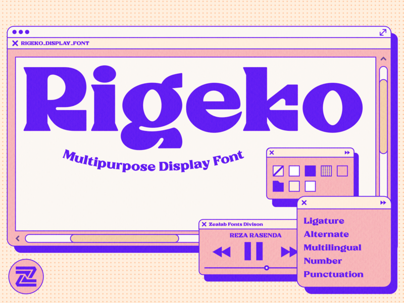 Rigeko Unique Display Font illustration vector modern font simple designs minimalist clever logo designs simple flat logo