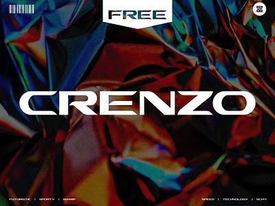 FREE FONT : CRENZO freebies racing font technology headline lettering typography multilingual ligature logo ui  ux illustration identity display branding freebie modern typeface type
