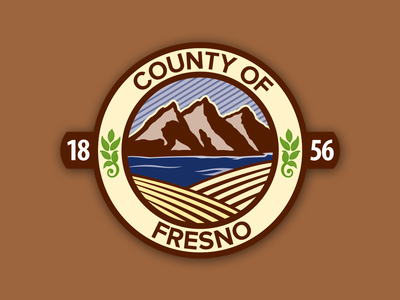 County of Fresno Seal leaf agriculture farm field lake river mountains design graphic seal county fresno