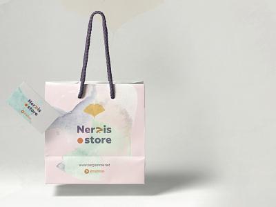 Nergis store شعار تصميم هويه متجر عربي arabic design branding typography illustration vector logo