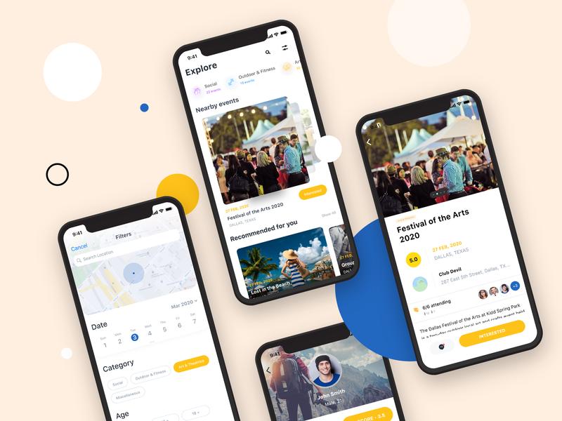 Social Events App Screens