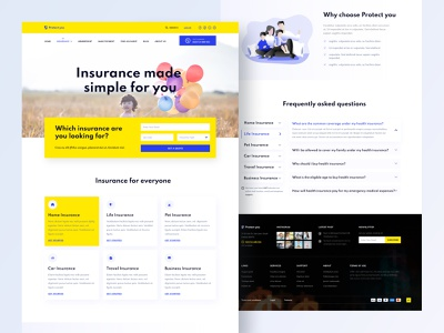 Protect you - Insurance website footer faq pet insurance health insurance car insurance insurance home page service case study website insurance landing page insurance home page