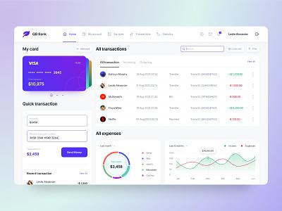 Banking Dashboard   QB Bank financial dashboard dashboard dashboard ui bank app banking app banking dashboard financial app