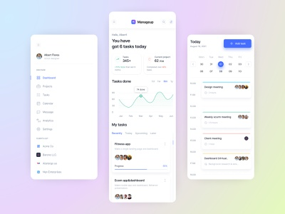 Task management dashboard (Mobile view) | Manageup project management task management task project kanban todolist task list management app manager task management dashboard project management dashboard task manager