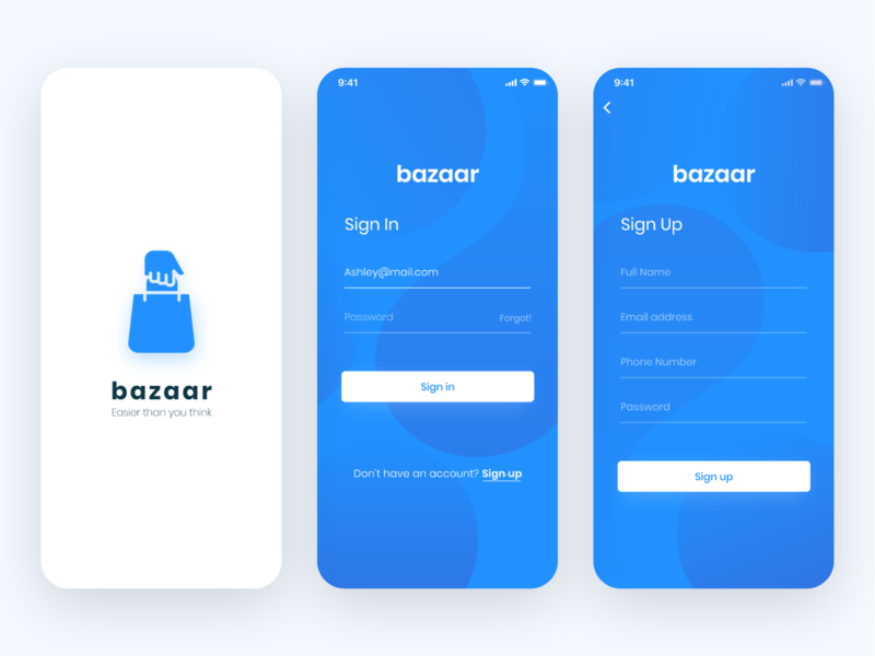 E - commerce app (bazaar) clean design sign up sign in ui ux design store shopping app ecommerce app ecommerce adobexd