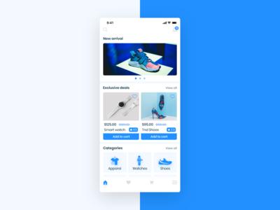E - commerce app , Home screen.